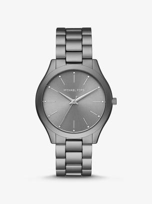 Michael Kors Slim Runway Grey-Tone Aluminum Watch