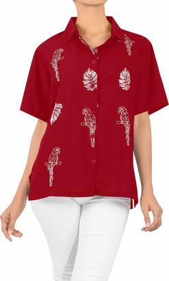 LA LEELA Rayon Women's Hawaiian Blouse Tunic Shirt Top Short Sleeve Embroidered Work Basic Loose Daily wear Aloha XXL-UK Size:24-26 Blood Red_X496