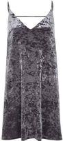 River Island Womens Grey marble velvet mini slip dress