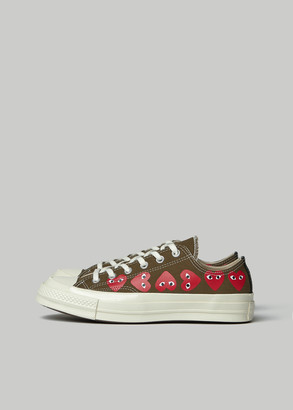 Comme des Garcons Women's Play Converse Low Chuck Taylor Multi Heart Sneaker in Khaki Size 7 Textile/Rubber