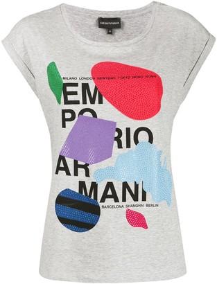 Emporio Armani rhinestone-embellished logo T-shirt