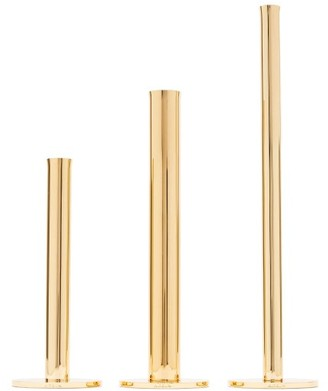 AERIN Set Of Three Lilio Bud Gold-plated Vases - Gold