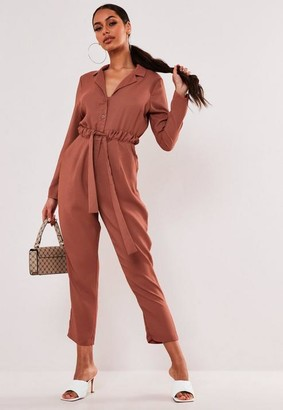 Missguided Rust Tie Waist Shirt Playsuit