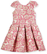 Zoë Ltd Pleated Metallic Rose Brocade Dress, Pink, Size 4-6X
