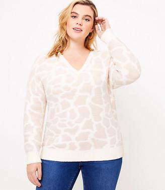 LOFT Plus Animal Spotted V-Neck Sweater
