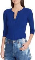 Ralph Lauren Ribbed Cotton Henley Pullover Top