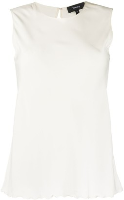 Theory Scalloped Hem Sleeveless Blouse