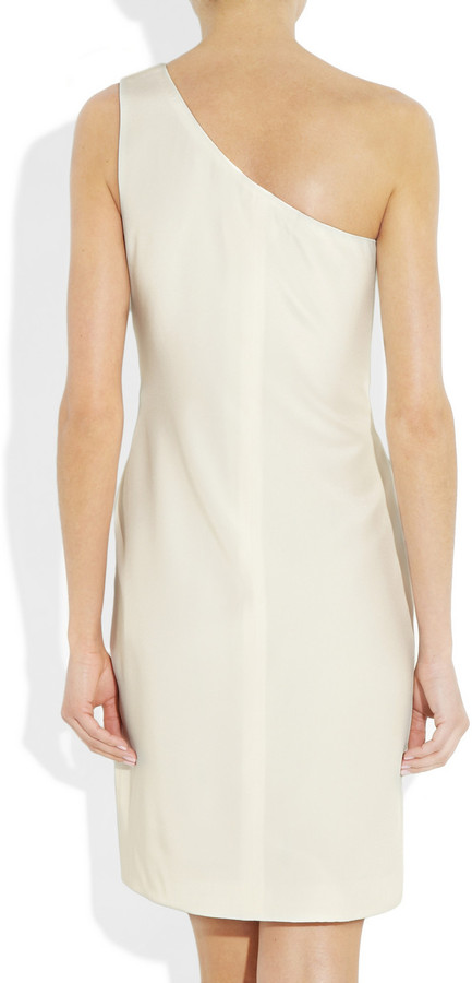 Notte by Marchesa One-shoulder embellished silk-crepe dress