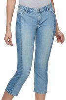 JLO by Jennifer Lopez Women's Spliced Straight-Leg Cropped Jeans