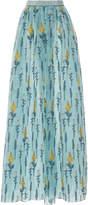 Luisa Beccaria Organdy Fil Coupe Printed Skirt