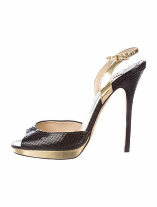 Jimmy Choo Snakeskin Slingback Sandals Black