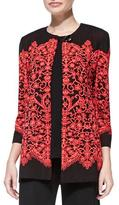 Misook Lace-Print Long Jacket, Petite