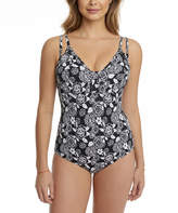 Penbrooke Black & White Floral One-Piece - Plus Too