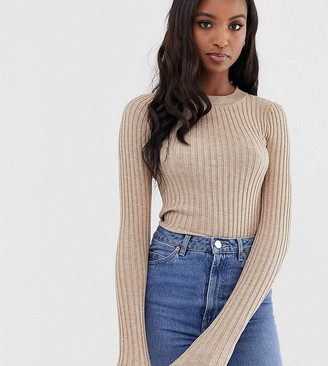 Asos Tall DESIGN Tall crew neck jumper in skinny rib-Stone