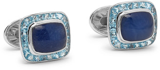 Trianon - 18-Karat White Gold, Sapphire and Topaz Cufflinks - Men - Silver