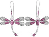 Pink-Ruby-Colored Cubic Zirconia & Sterling Silver Sweet Dragonfly Signature Drop Earrings
