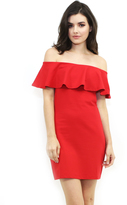 Susana Monaco Ruffle Off the Shoulder Dress in Perfect Red