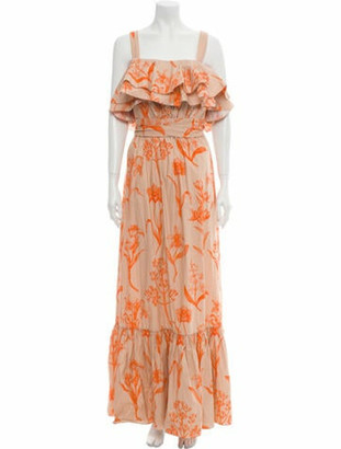 Johanna Ortiz Floral Print Long Dress Orange