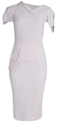Roland Mouret Asymmetric Draped Wool Tea-Length Dress