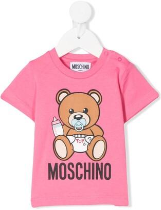 MOSCHINO BAMBINO logo teddy print T-shirt