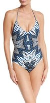 Red Carter Indigo Blues Lace-Up One-Piece Swimsuit