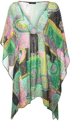 Versace Print Sheer Silk Georgette Caftan Dress