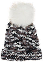 Barneys New York WOMEN'S CABLE-KNIT POM-POM EMBELLISHED HAT-GREY