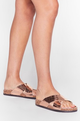 Nasty Gal Womens Croc It Out Faux Leather Metallic Sandals - Rose Gold