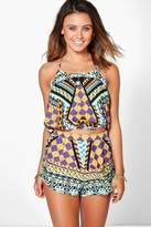 boohoo Petite Jade Mixed Print Crop Top & Short Co-ord