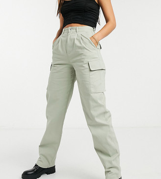 Asos Tall ASOS DESIGN Tall pleated front chino pants with cargo pockets in sage