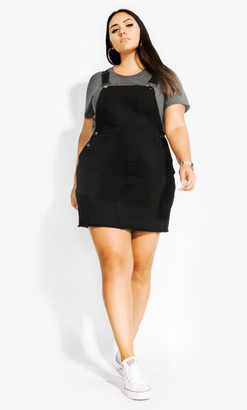 City Chic Denim Bib Dress - black