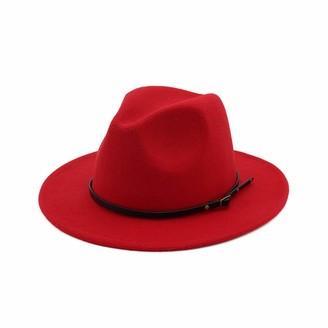 BaZhuaYu001 Women's Classic Wide Brim Fedora Hat with Belt Buckle Panama Hat