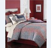 Martha Stewart Palace Blockprint 6pc Duvet Cover Bedskirt Queen Red Navy