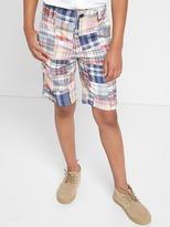 Patchwork plaid flat front shorts