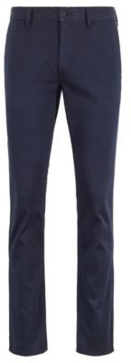 BOSS Slim-fit trousers in satin-touch stretch cotton