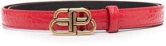 Balenciaga Crocodile Effect Logo Belt