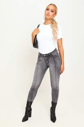I SAW IT FIRST Grey Panelled High Waist Jeans