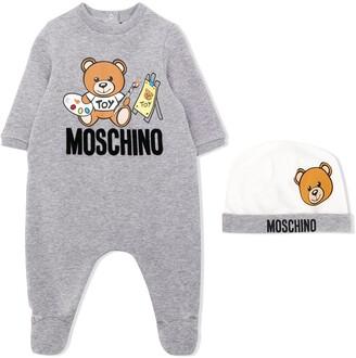 Moschino Kids teddy logo pajama and beanie set