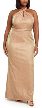 City Studios Trendy Plus Size Metallic Halter Gown