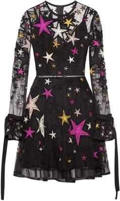 Elie Saab Belted Embellished Tulle Mini Dress