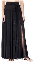 Carmen Marc Valvo Marche De Solids Mesh Side Tie Long Cover-Up Skirt (Black) Women's Skirt