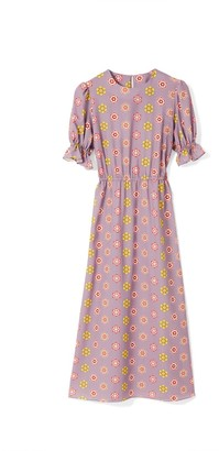 Phoebe Grace Tilly Round Neck Midaxi Puff Sleeve Dress In Lilac Daisy