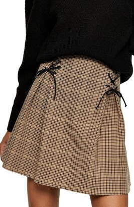 Topshop Lace-Up Check Miniskirt