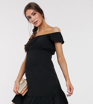 Asos DESIGN Maternity off shoulder mini sundress with pep hem in black