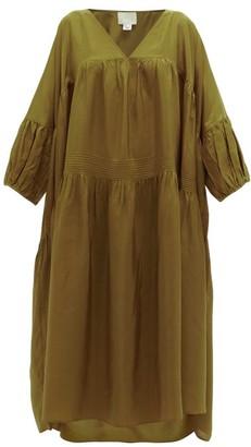 Anaak - Airi Pintucked Silk-habotai Dress - Olive Green
