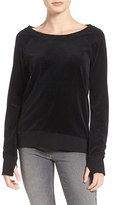 Pam & Gela Women's Back Laced Velour Sweatshirt