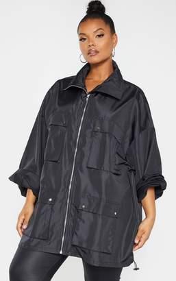 PrettyLittleThing Plus Black Oversized Shell Utility Jacket