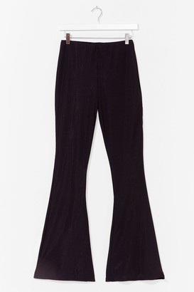Nasty Gal Womens Rib-peat After Me High-Waisted Flare Trousers - Black - 8