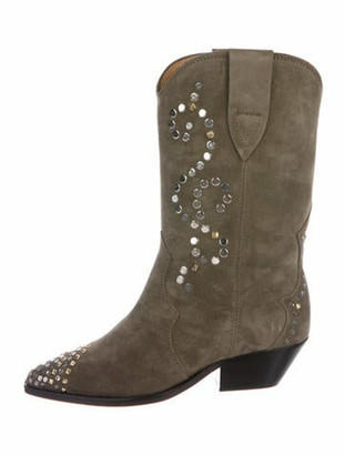 Isabel Marant Suede Studded Accents Western Boots Green