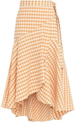 Paper London Gingham Stretch-cotton Seersucker Midi Wrap Skirt